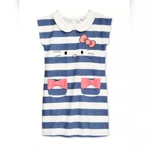 Hello Kitty Girls Size 5 Striped Embroidered Dress